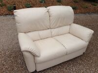 Cream 2 seater leather Natuzzi Sofa