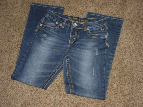 "JUSTICE JEANS - Size 12R - Bootcut - BLING - Rise 8"" - 3 Rhinestones Missing"