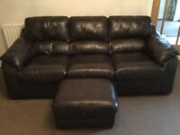2 x 3 Seater Brown Leather Settees