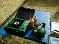 Camping stove, kettle and cartridges