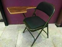 Black folding chair with side table