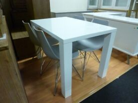 Furniture Mill Sale TOP BRAND WHITE GLOSS DINING TABLE WITH FOUR CHAIRS Furniture Mill Sale