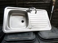 STAINLESS STEEL KITCHEN SINK WITH MIXER TAPS