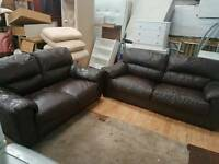 Brown leather sofa set for sale good clean