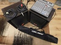 used H H speakers, stands, sound lab powered mixer