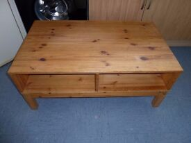 IKEA HUSAR SOLID PINE TV/VIDEO/DVD/ CONSOLE TABLE. DIMENSIONS 100L x 43H x 59D. GOOD CONDITION.