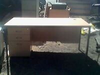 Quality Rectangular 153Wx73Dx70H Desk & Mobile Pedestal 3 Drawer Beech