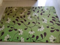 Large green rug with floral detail