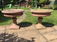 A stunning pair of old vintage large handmade stone garden urn planters!