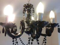 5 Arm Pendant Light / Chandelier - Black