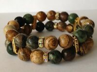 Handmade gemstone stretch bracelet made with Green Jasper and Picture Jasper