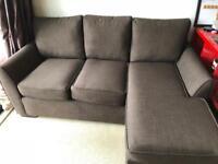 Dark brown, fabric corner sofa