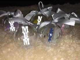 Handmade personalised baubles and mugs