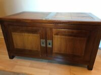 Teak and bamboo Chest and Bedside table