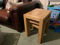 Oak side tables nest of 3 coffee living room lounge table furniture