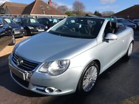 2006/56 VOLSWAGEN EOS 2.0 T FSI SPORT CABRIOLET 2DR SILVER LOW MILEAGE,GREAT SPEC FULL LEATHER