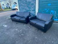 three seater sofa and two seater sofa Black leather Delivery available