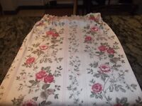 Job lot of 5 pairs of assorted curtains in different sizes, including plain and floral designs.