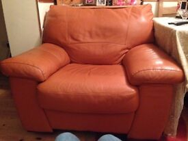 Leather 2seater and 2 leather arm chairs