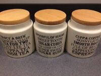 Set of 3 large tea sugar and coffee canisters