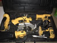 Dewalt XRP Combi set drill, circular saw, jigsaw, recipertating saw, torch