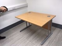 Fantastic condition beech office desk cantilever dimensions 1400x800.