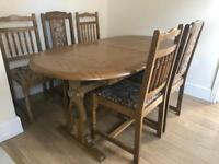 Oak dining table and 5 chairs