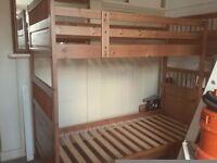 Solid wood bunk bed frame - New Malden