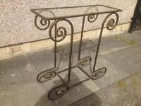 Wrought iron designer glass table
