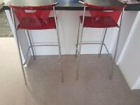 Red & Chrome Bar stools for sale