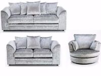 *SPECIAL OFFER* CRUSHED VELVET BYRON CORNER SOFA SILVER GOLD BLACK COUCH 2&3 SEATER SET SWIVEL CHAIR