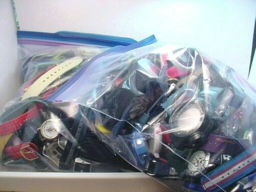 LARGE WRISTWATCH GROUP  6.90 LBS  NOS and USED PARTS or REPAIR UNTESTED  AS IS