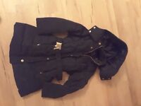 Lovely zara black coat girls size age 3 to 4 with belt and detachable hood