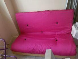 Pink double futon £50