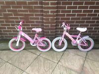 Girls Bike x 2 to suit 3 to 5 year old. A bit battered but working (may need some adjustments)