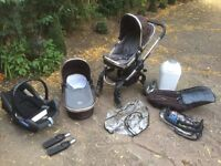 ICandy Peach travel system, pram, Seat Unit, Carry cot, car seat with adaptors, foot muff and more!