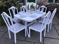Dining Table & 6 Chairs ~ EXTENDING ~ Silver Crushed Velvet ~ Easily Seats 8