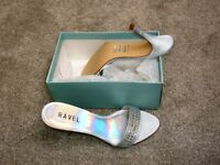 STUNNING - LADIES MULES - STILETTO HEEL SHOES - SIZE 5 - COLOUR SILVER