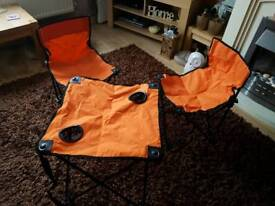 Folding camp chairs and table