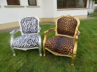 2 Childs leopard and zebra fabric seats