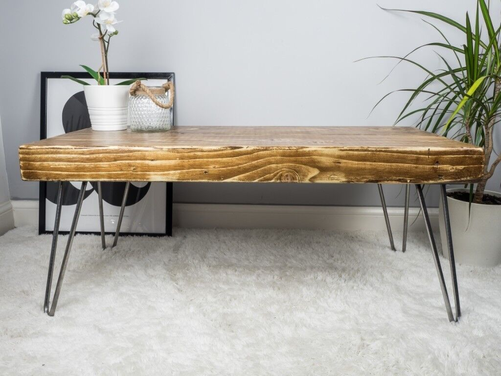 Handmade Solid Wood Coffee Table With Bare Steel Hairpin Legs