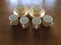 Six retro Harvest Moon Wedgwood espresso coffee cups and saucers.