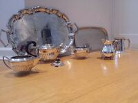 Collection of vintage silver plated tea service, tankard and trays. £20.00 ono