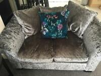 Crushed velvet 3 + 2 seater sofa