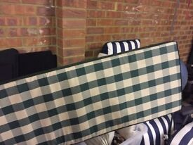 Never used green and cream check luxury bench cushion