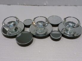 Brand New triple Diamond cut tea light holder with contemporary mirror base also comes with glasses