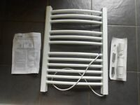 Creda white wall mountable electric heated ladder towel rail