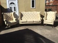 LEATHER CHESTERFIELD SUITE QUEEN ANNE 3 PIECE SUITE CLASSIC HANDMADE TIMELESS CHESTERFIELD CAN DEL