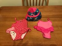 2 baby girl swimming costumes and sun hat