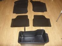 Set of 4 Genuine Vauxhall Corsa / Combo C Moulded Rubber Car Mats + Boot Tidy Box - Great Condition